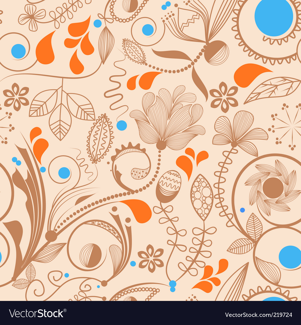 Floral peach pattern vector image
