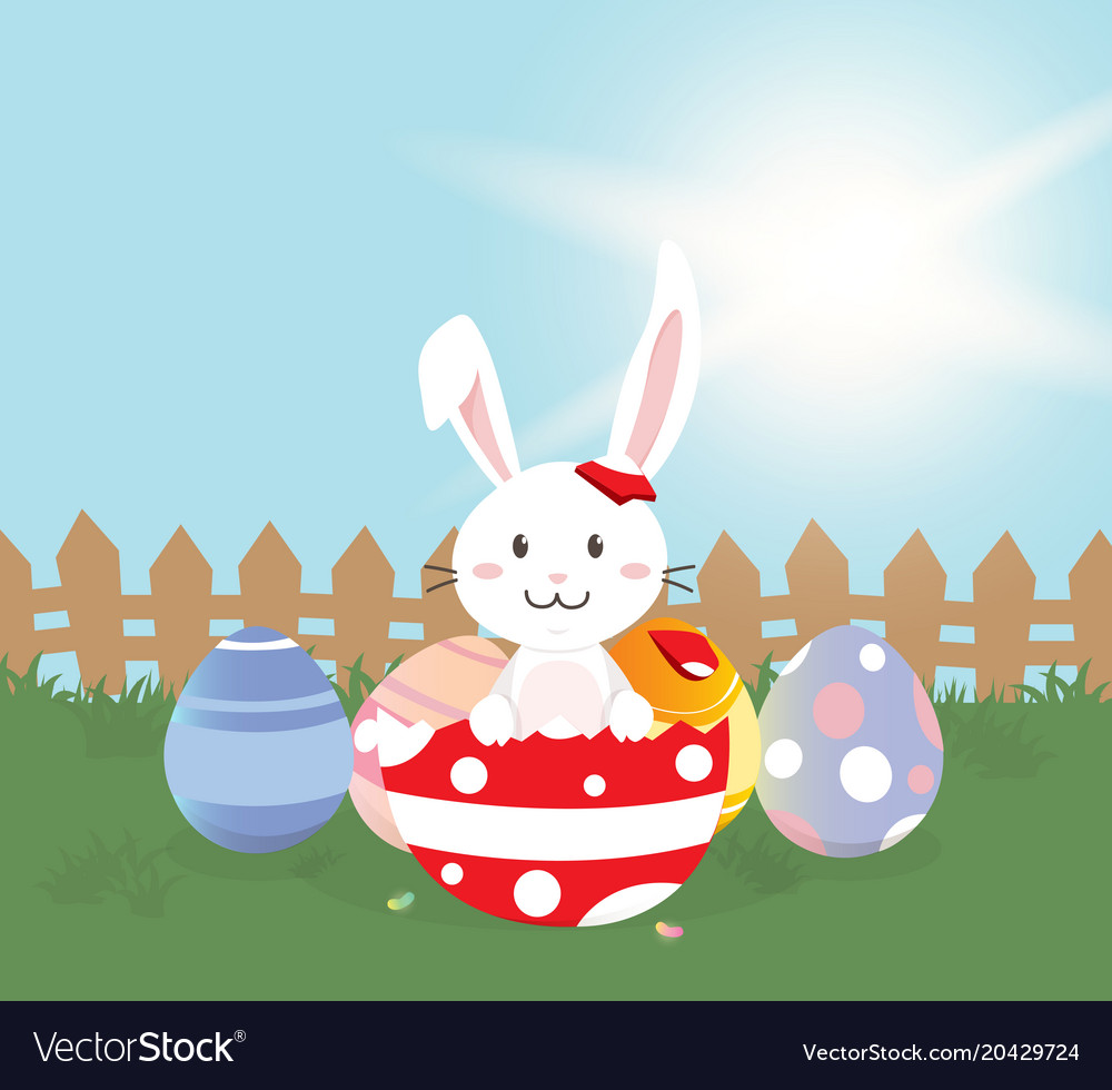 Happy easter greeting card cute bunny with vector image m4hsunfo