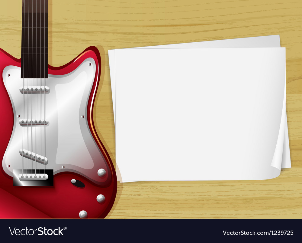 A red guitar with an empty piece of paper vector image