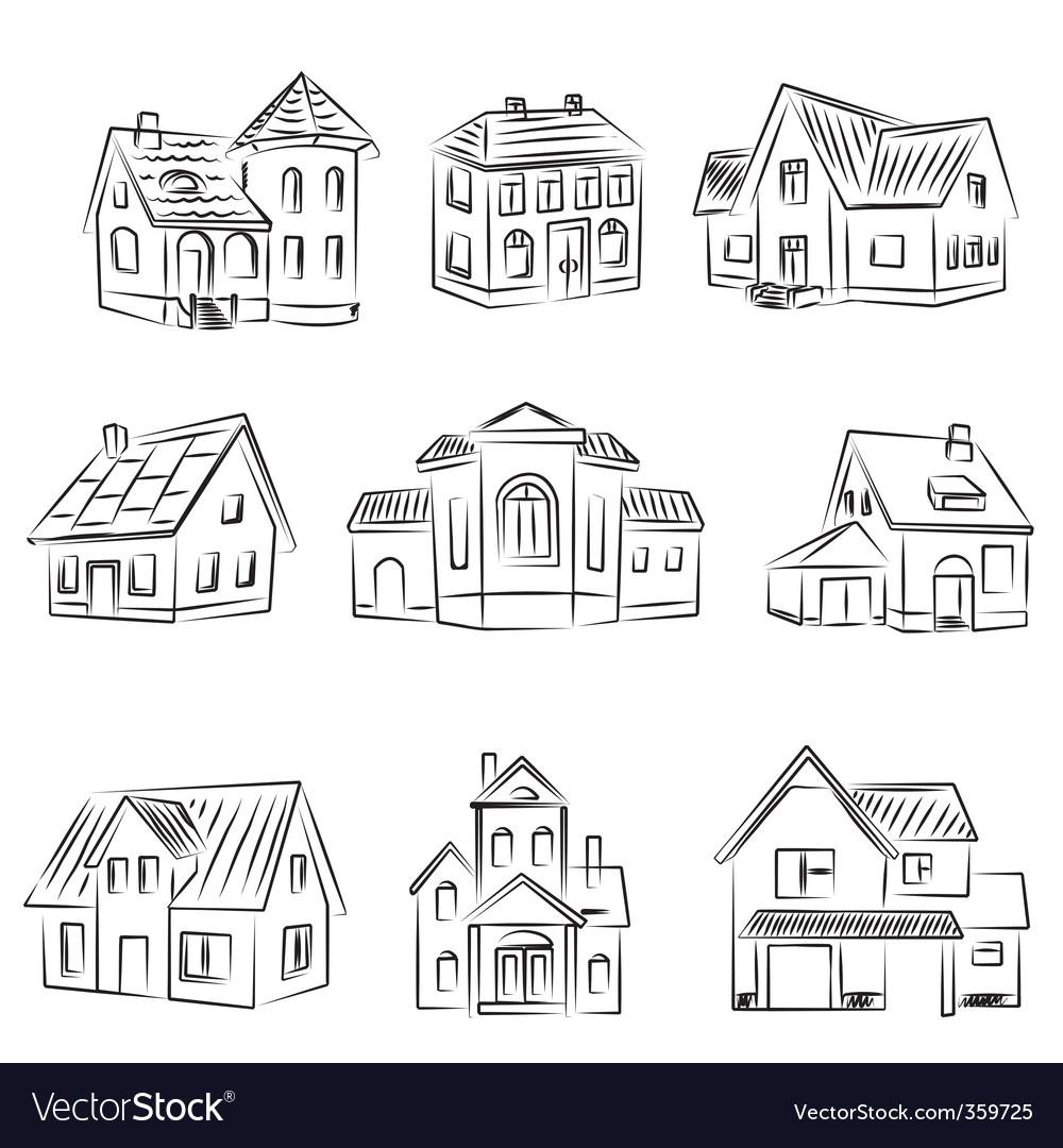Set of houses v vector image