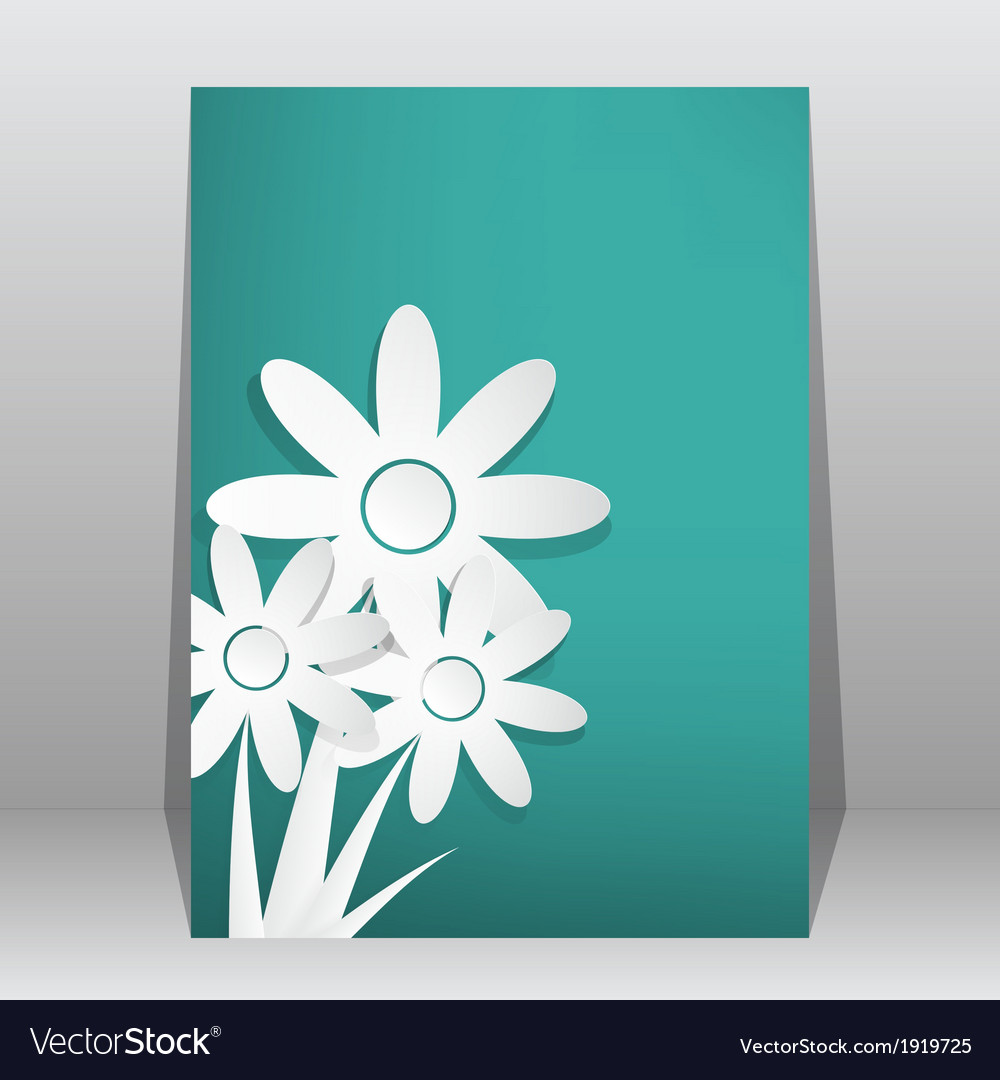 Flower shop brochure flyer magazine cover poster vector image