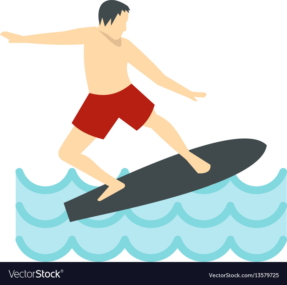 Surfer man on surfboard icon flat style vector image
