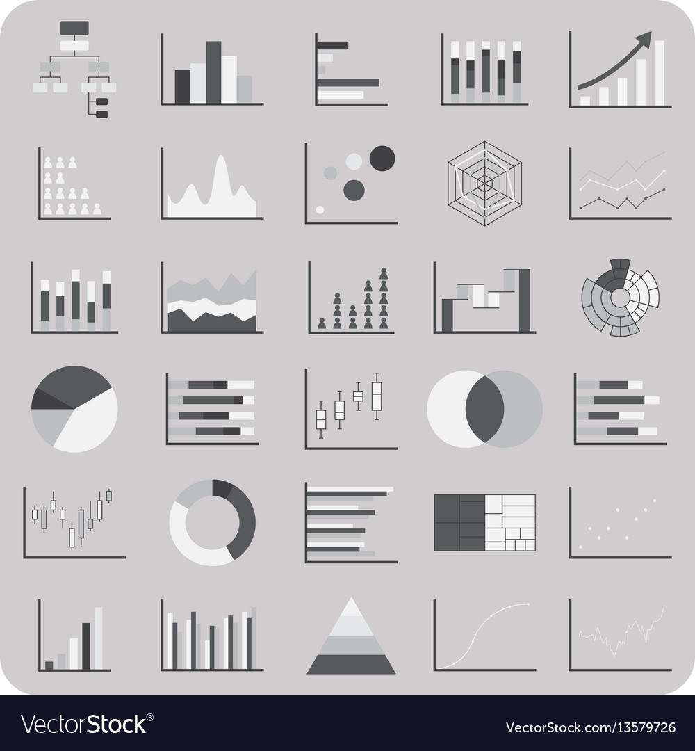 Flat icons basic graph chart and diagram set vector image