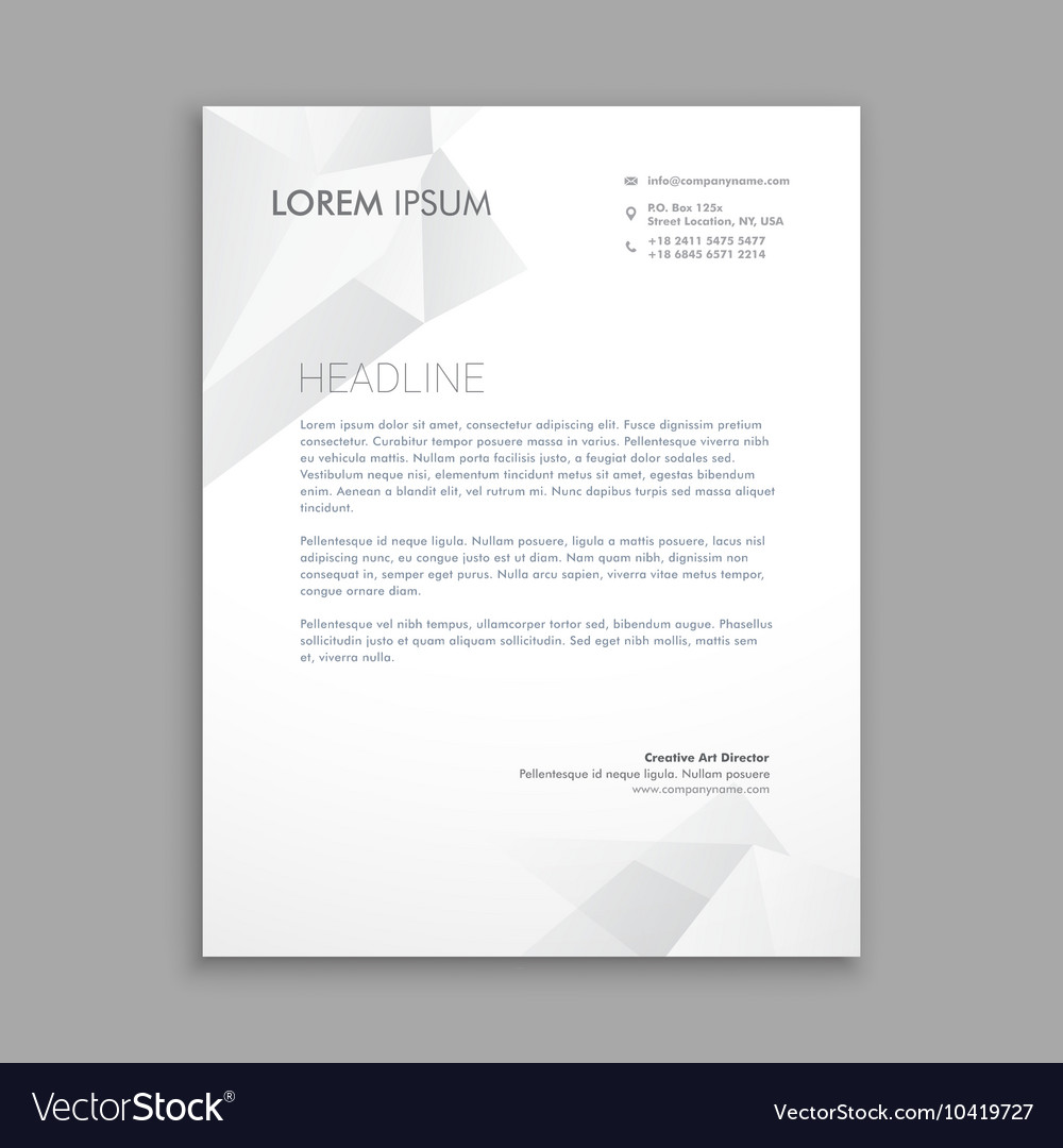 creative modern low poly letterhead vector image