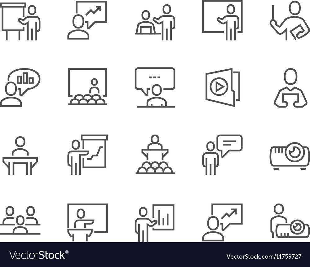 Line Business Presentation Icons vector image
