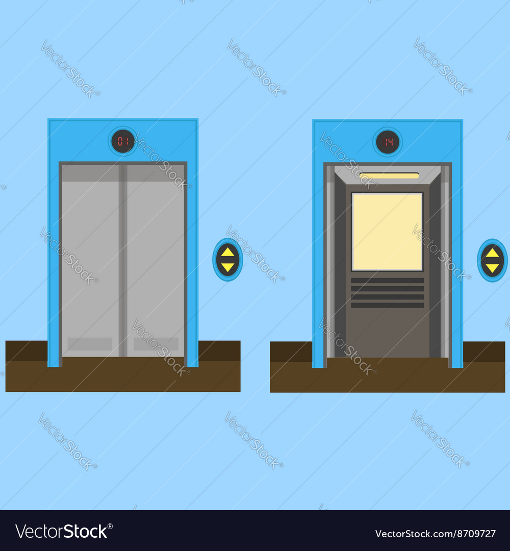 Metal Office Building Elevator Royalty Free Vector Image