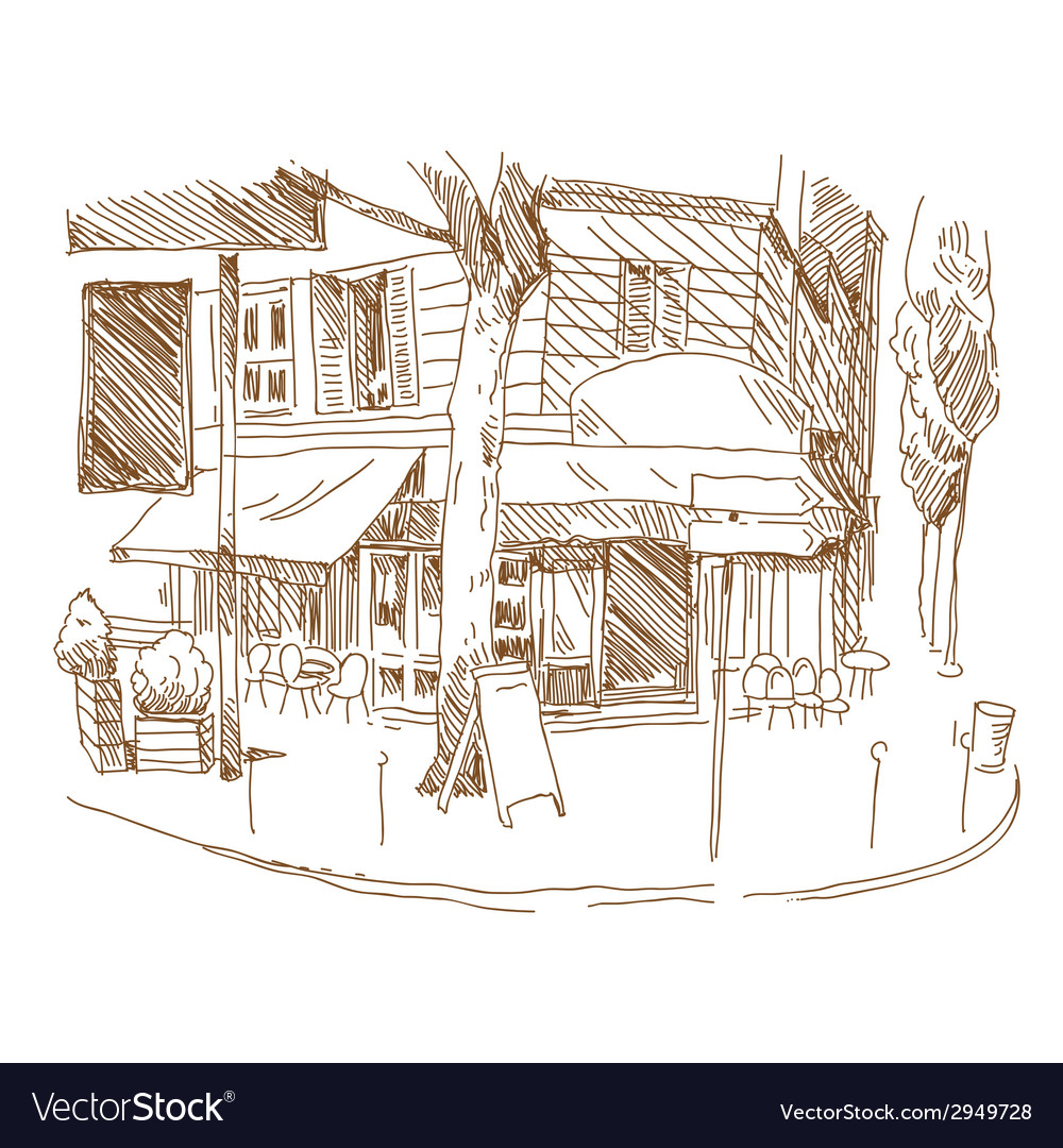 Cafe drawing vector image