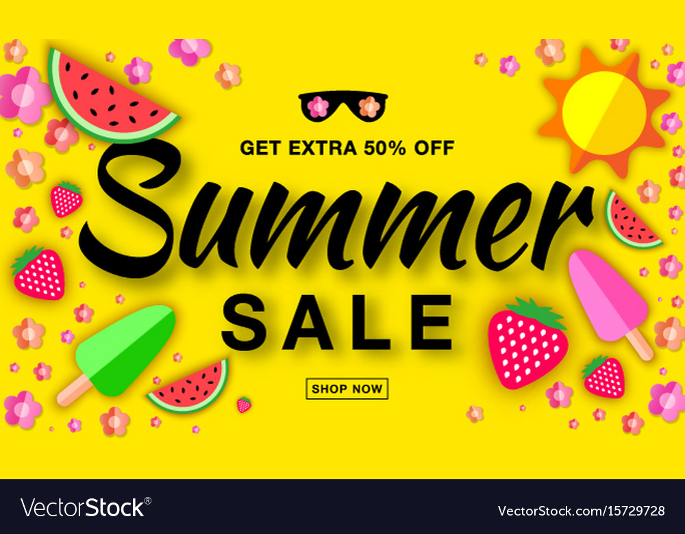 Summer sale template horizontal flat paper banner vector image