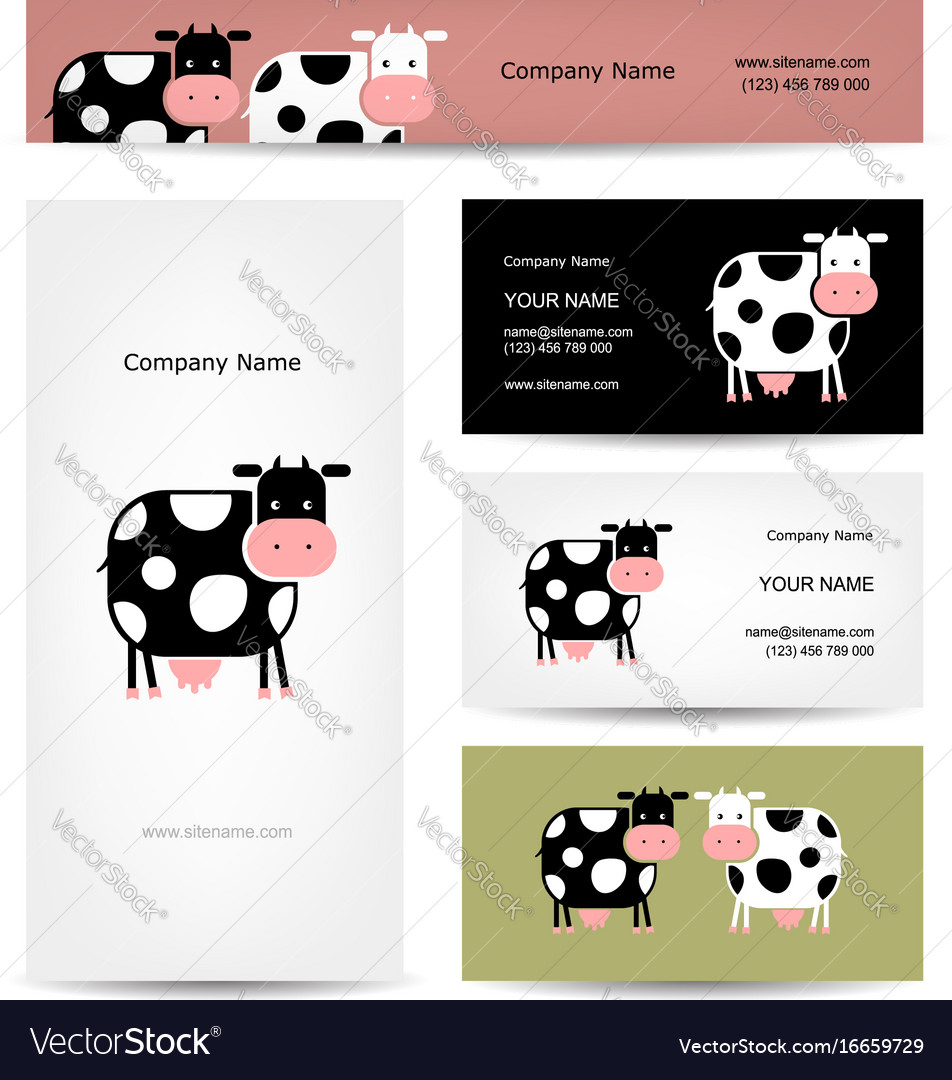 Business cards design with funny cow royalty free vector business cards design with funny cow vector image colourmoves