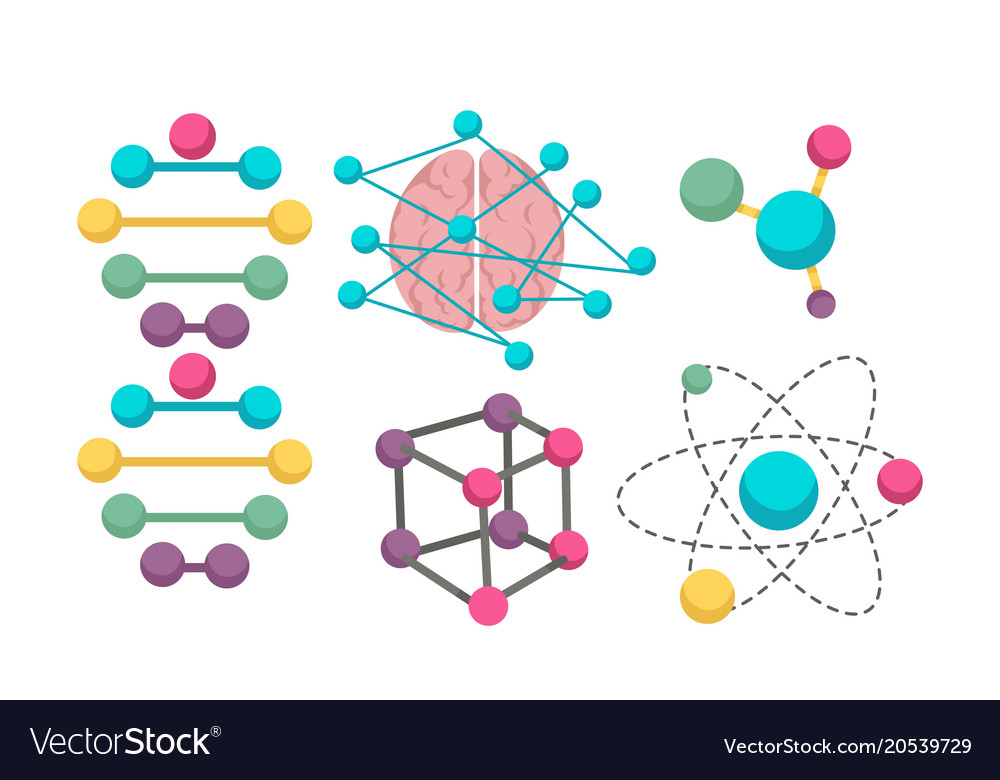 dna molecule icons for science in molecular vector image