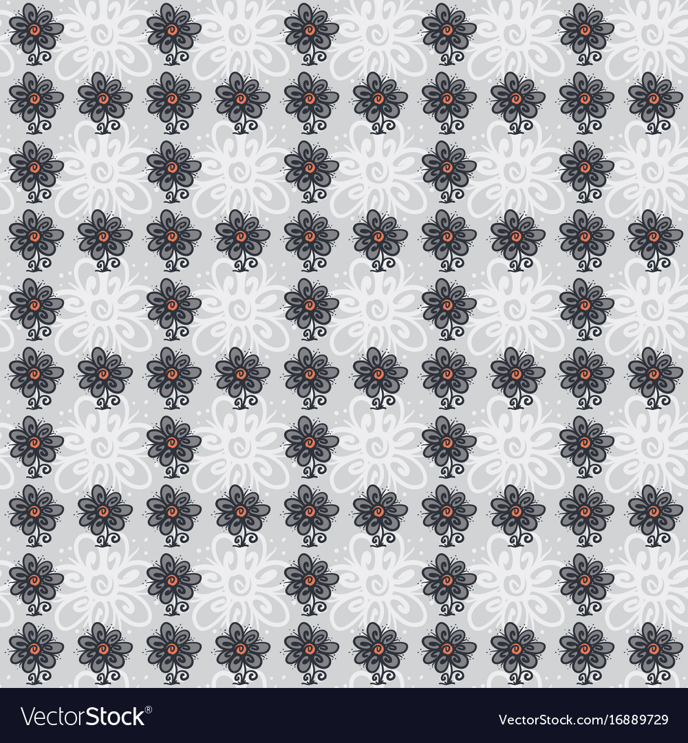 Seamless pattern with flowers on gray vector image