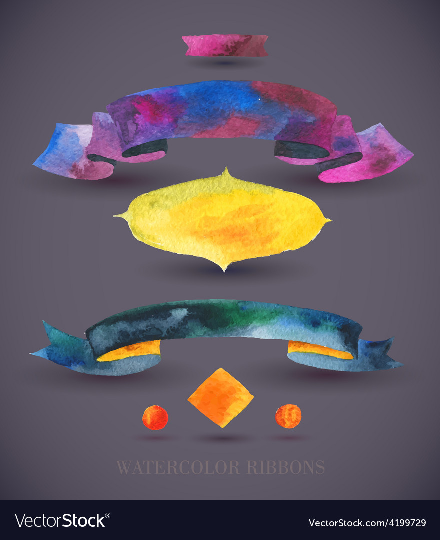 Watercolors ribbons and banners Collection of vector image