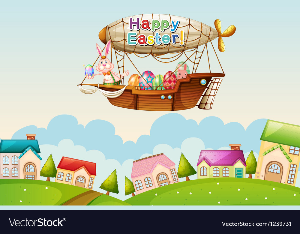 An airship above the hills with an easter greeting vector image