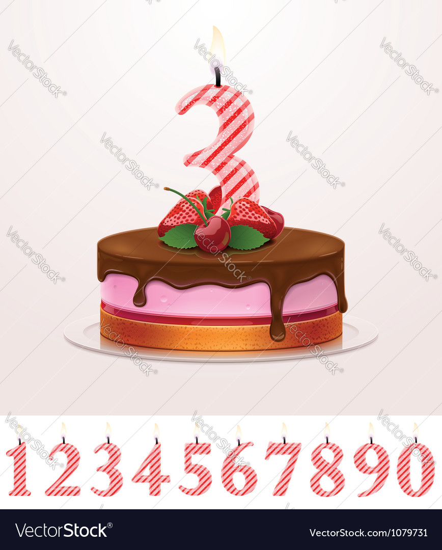 Birthday cake with candle Royalty Free Vector Image