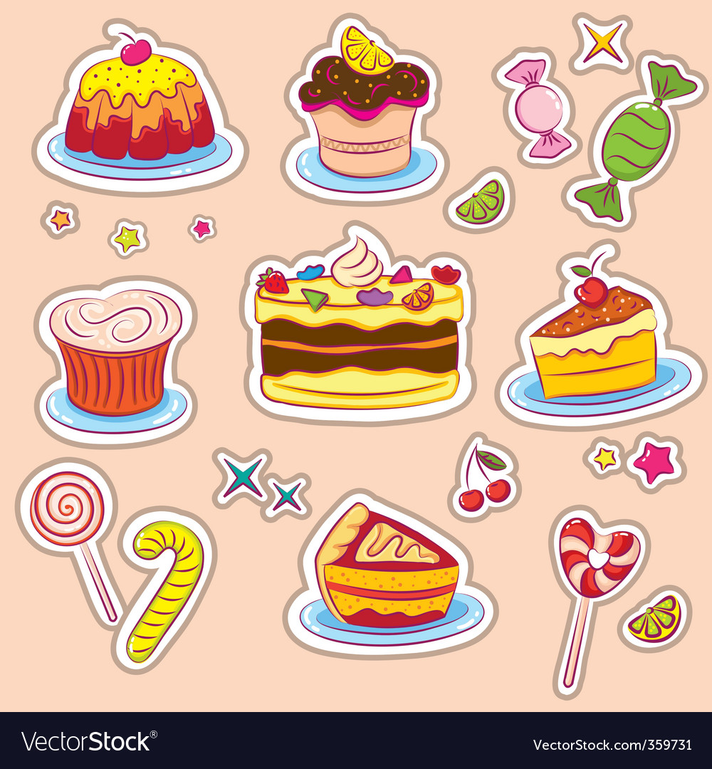 Holiday sweets 2 stickers v vector image