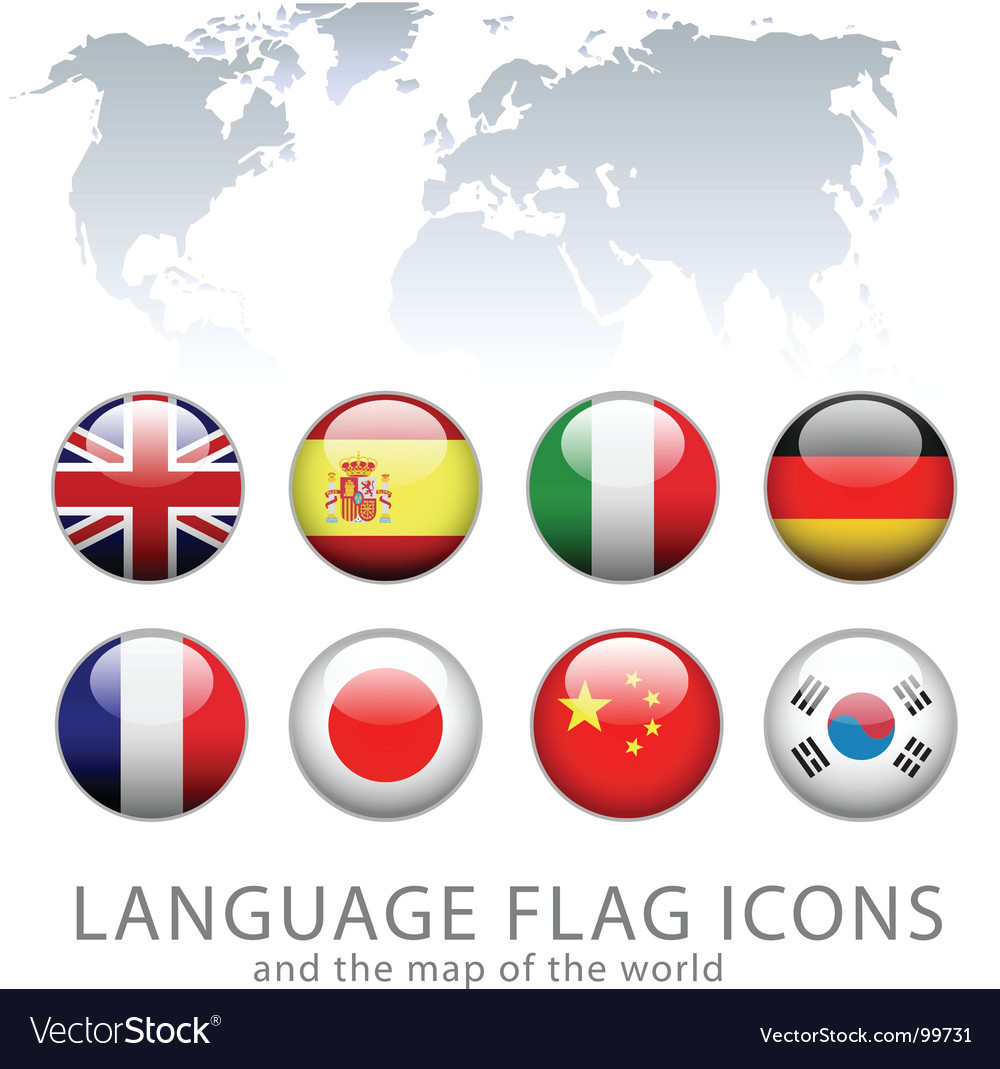 Language flag icons vector image