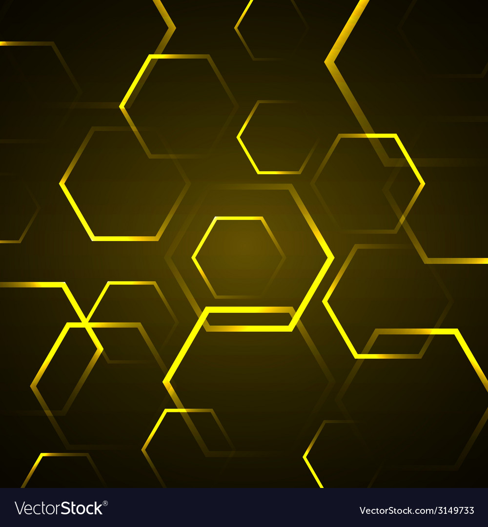 Abstract background with yellow hexagon vector image