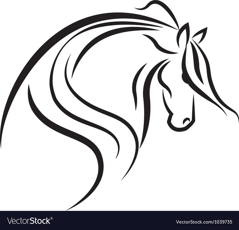 Horse stylized swoosh vector image