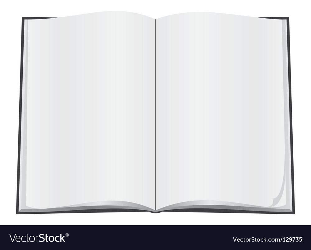 Blank open book vector image
