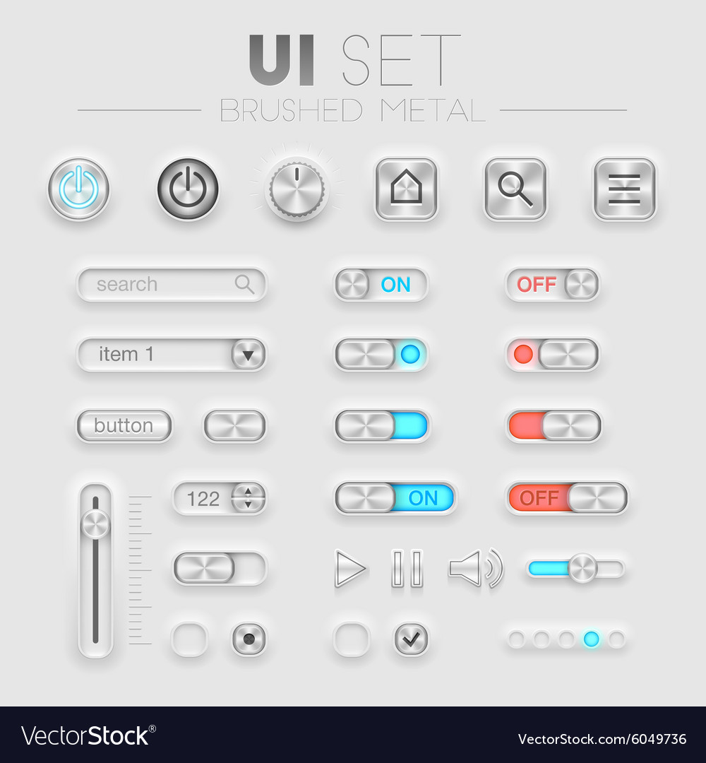 Brushed metal UI set vector image