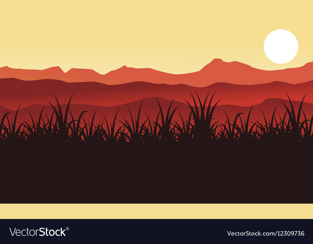 Silhouette of farm and grass scenery vector image