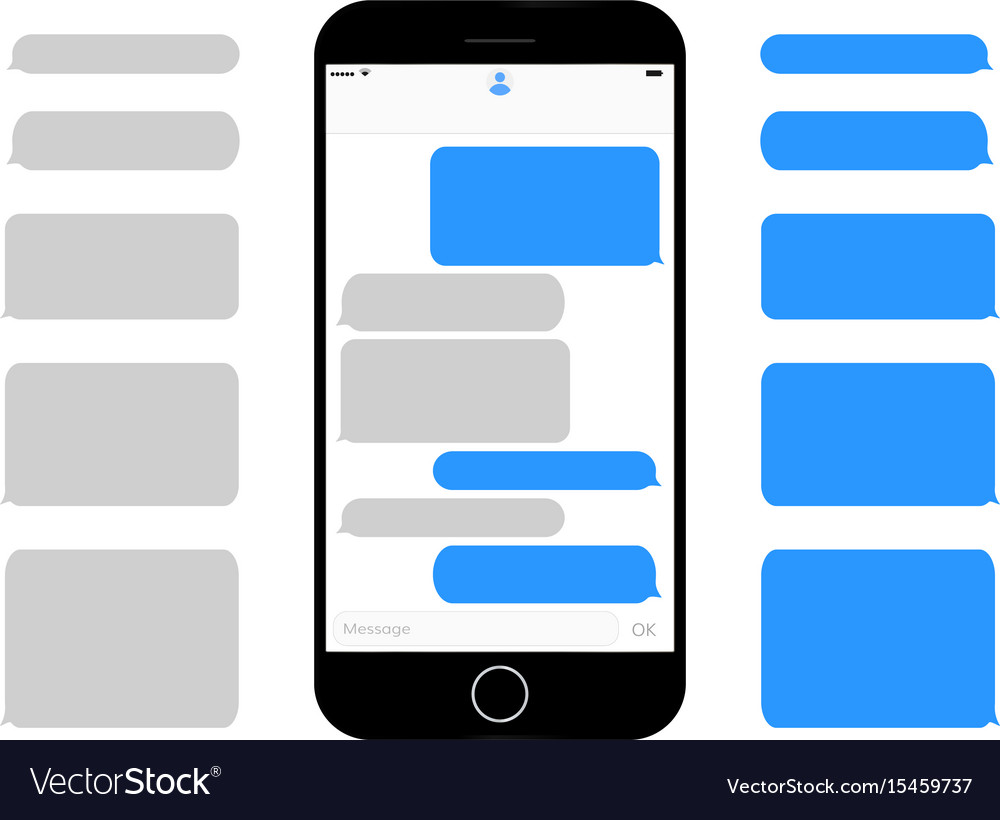 Mobile phone screen messaging text boxes empty vector image