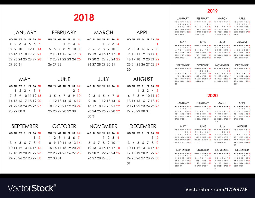 Calendar for 2018 2019 2020 years vector image