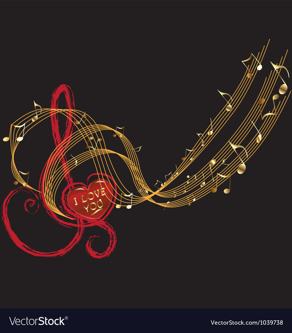 Music notes and love design vector image