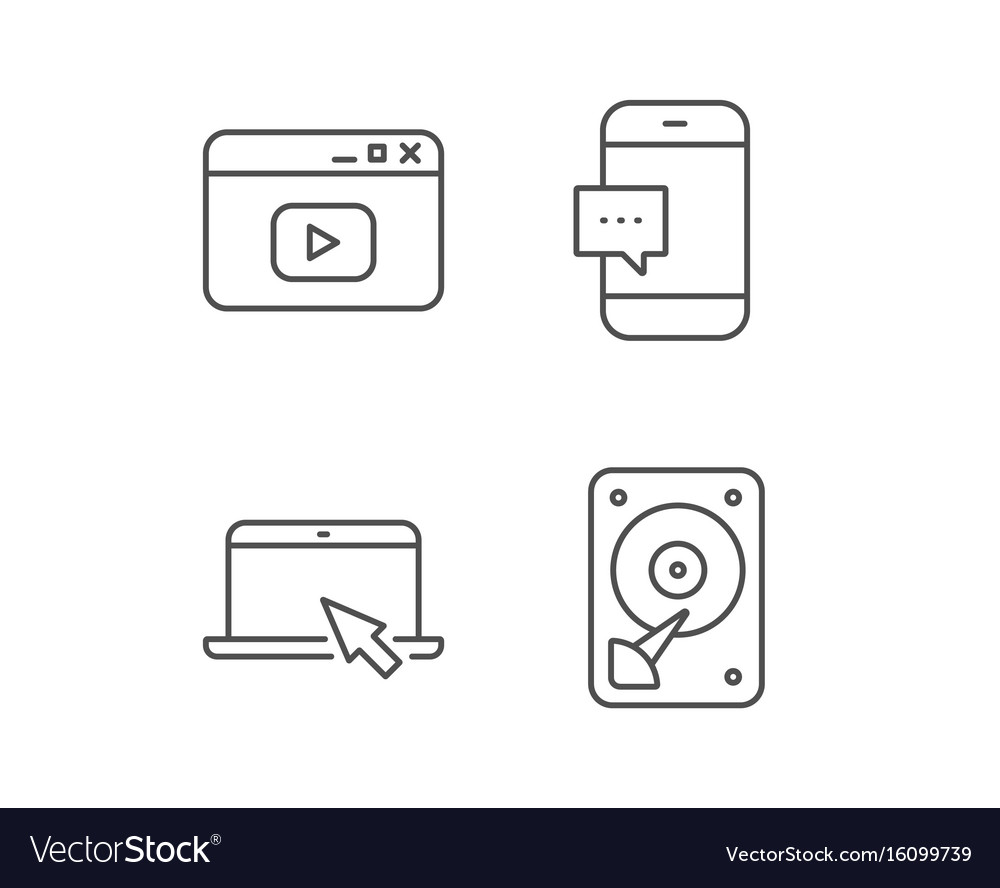 Notebook hard disk drive and browser window vector image