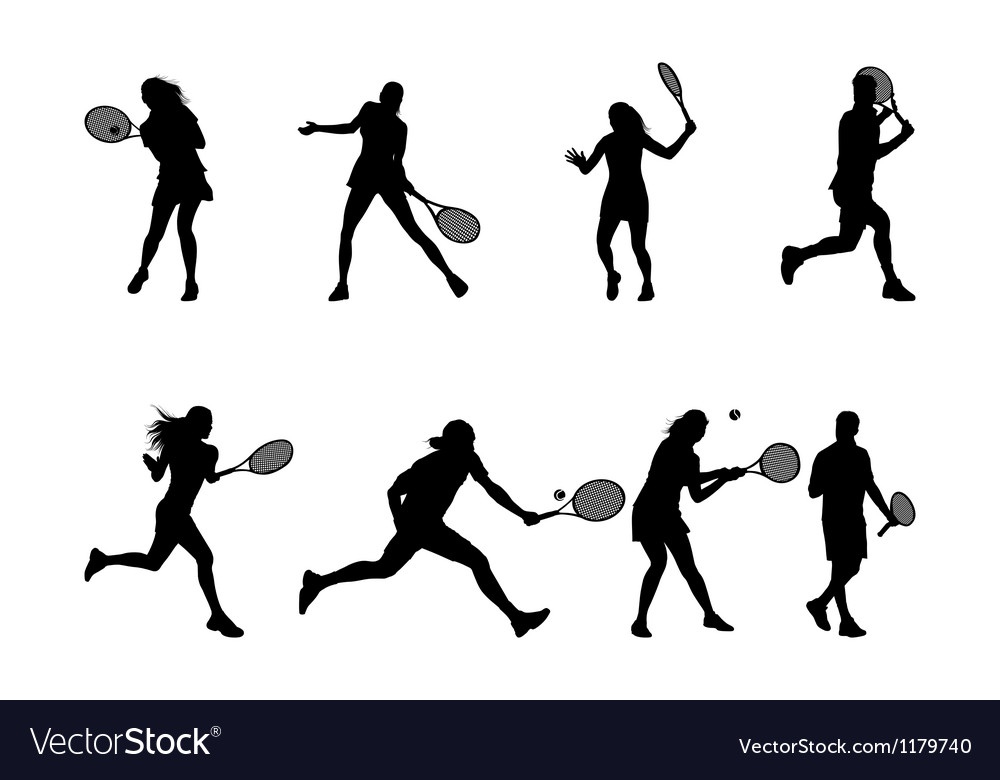 Tennis player silhouettes and shadows vector image
