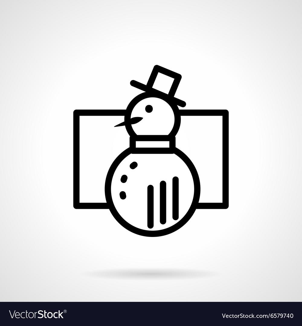 Black simple line snowman icon vector image