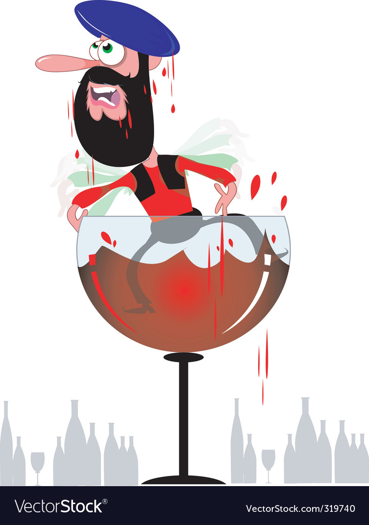 Cartoon Arab in wine goblet vector image