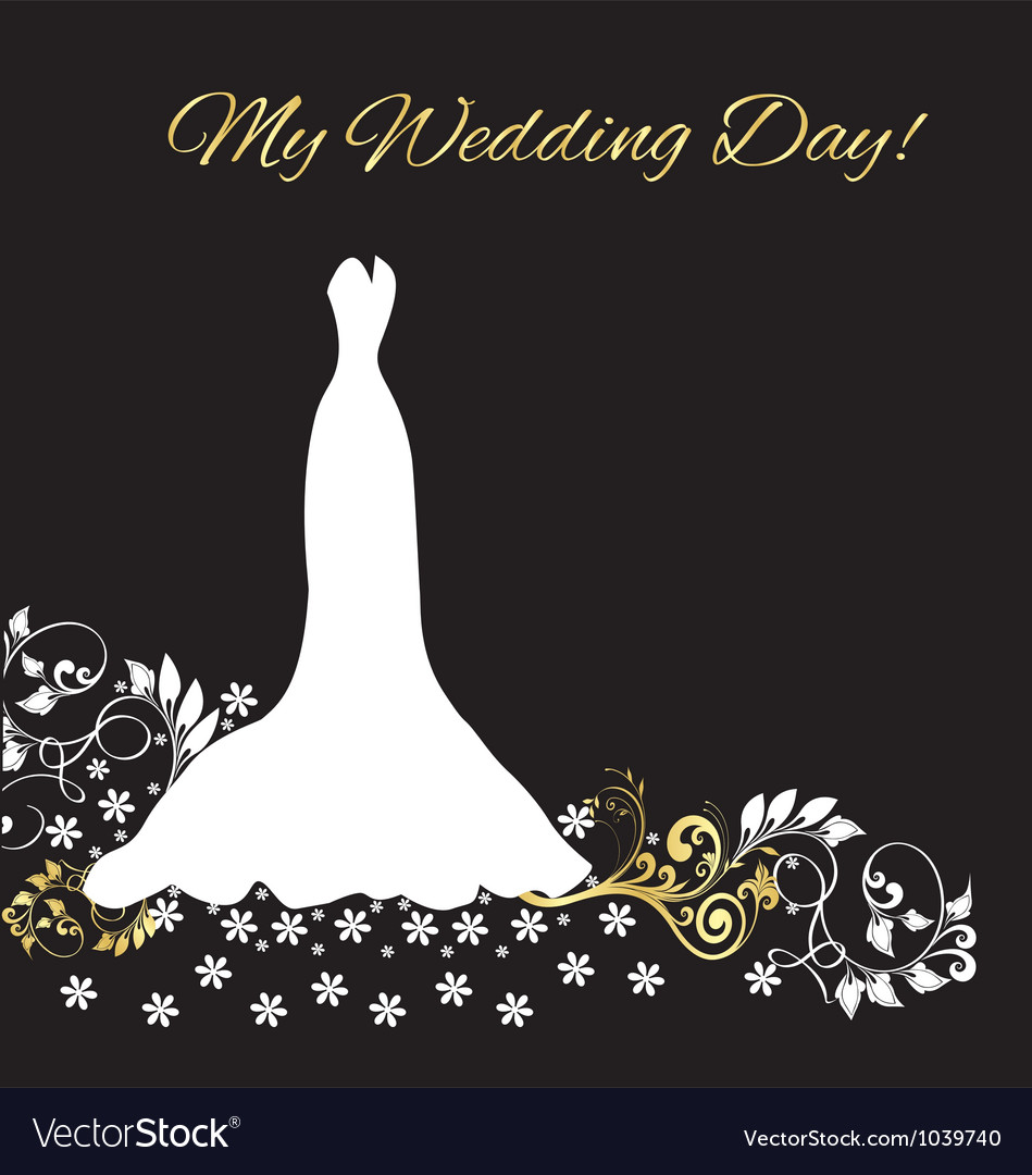 Wedding dress invitation card vector image