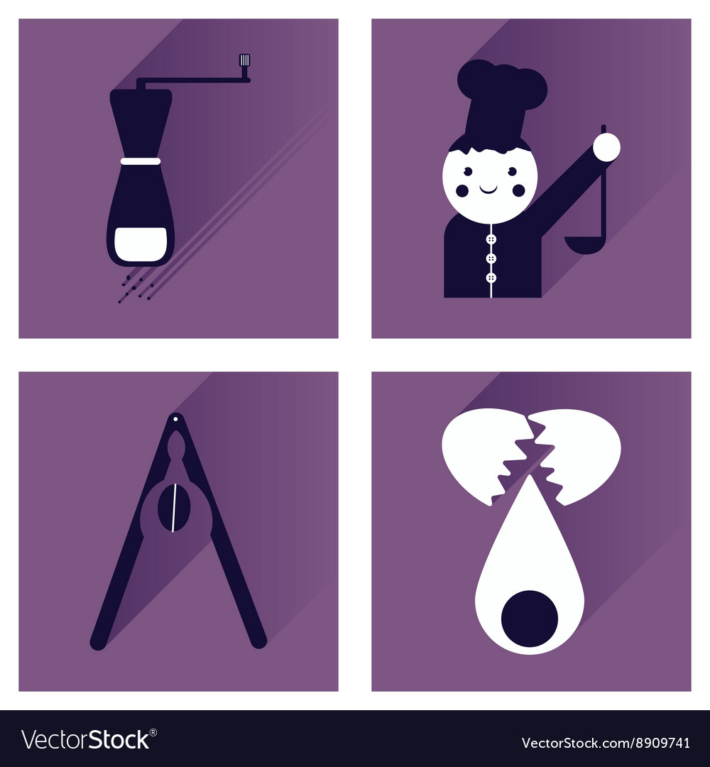 Set flat icons with long shadow chefs tools