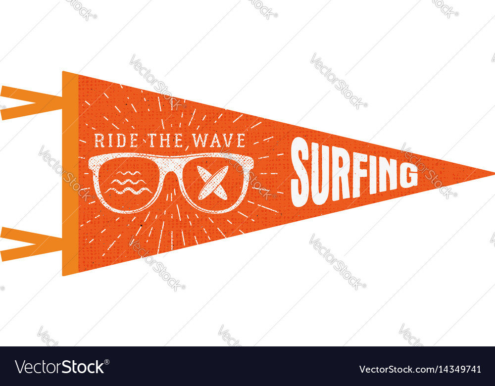 Surfing pennant summer pennant flag design vector image