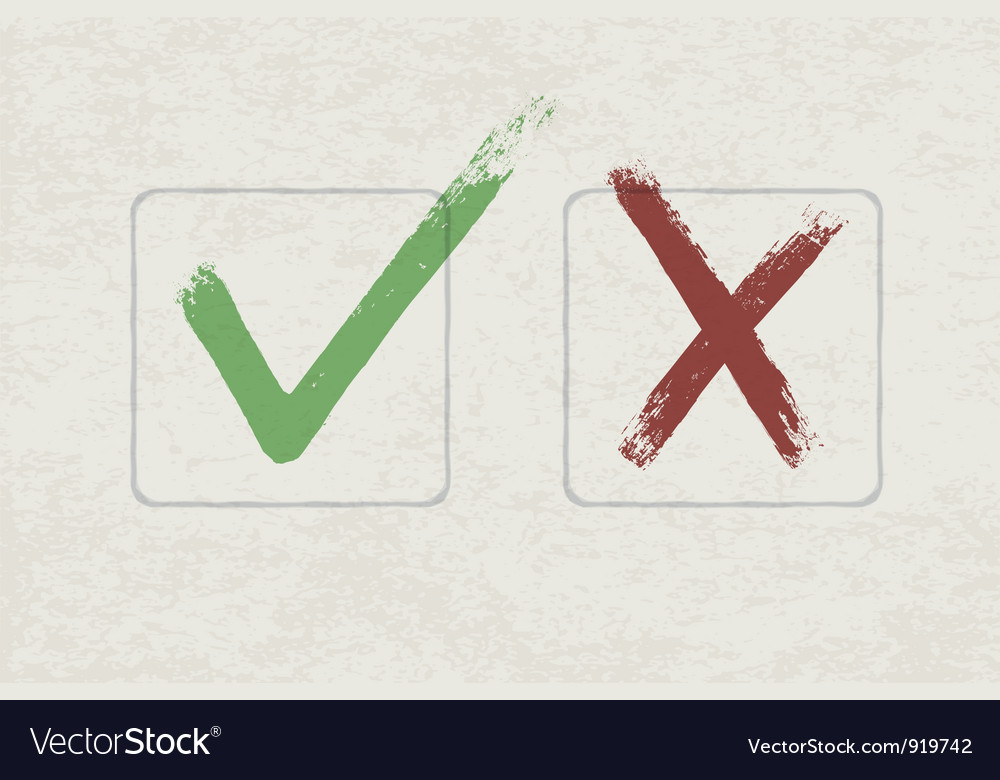 Grunge check mark vector image