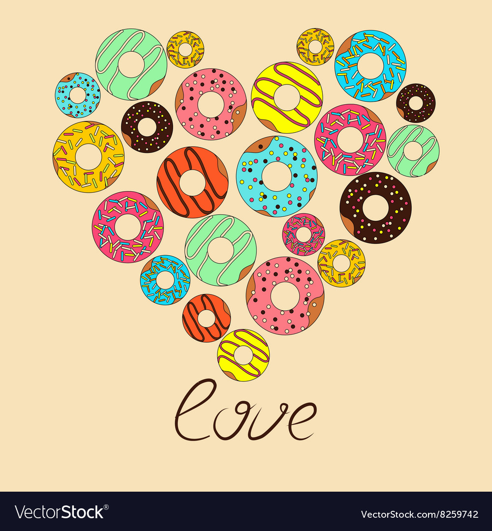Love for donut vector image