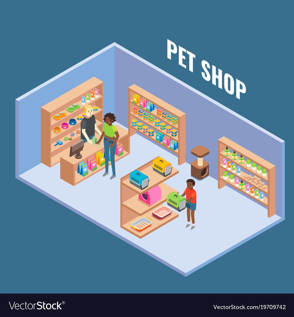 Pet shop cutaway interior flat isometric vector image