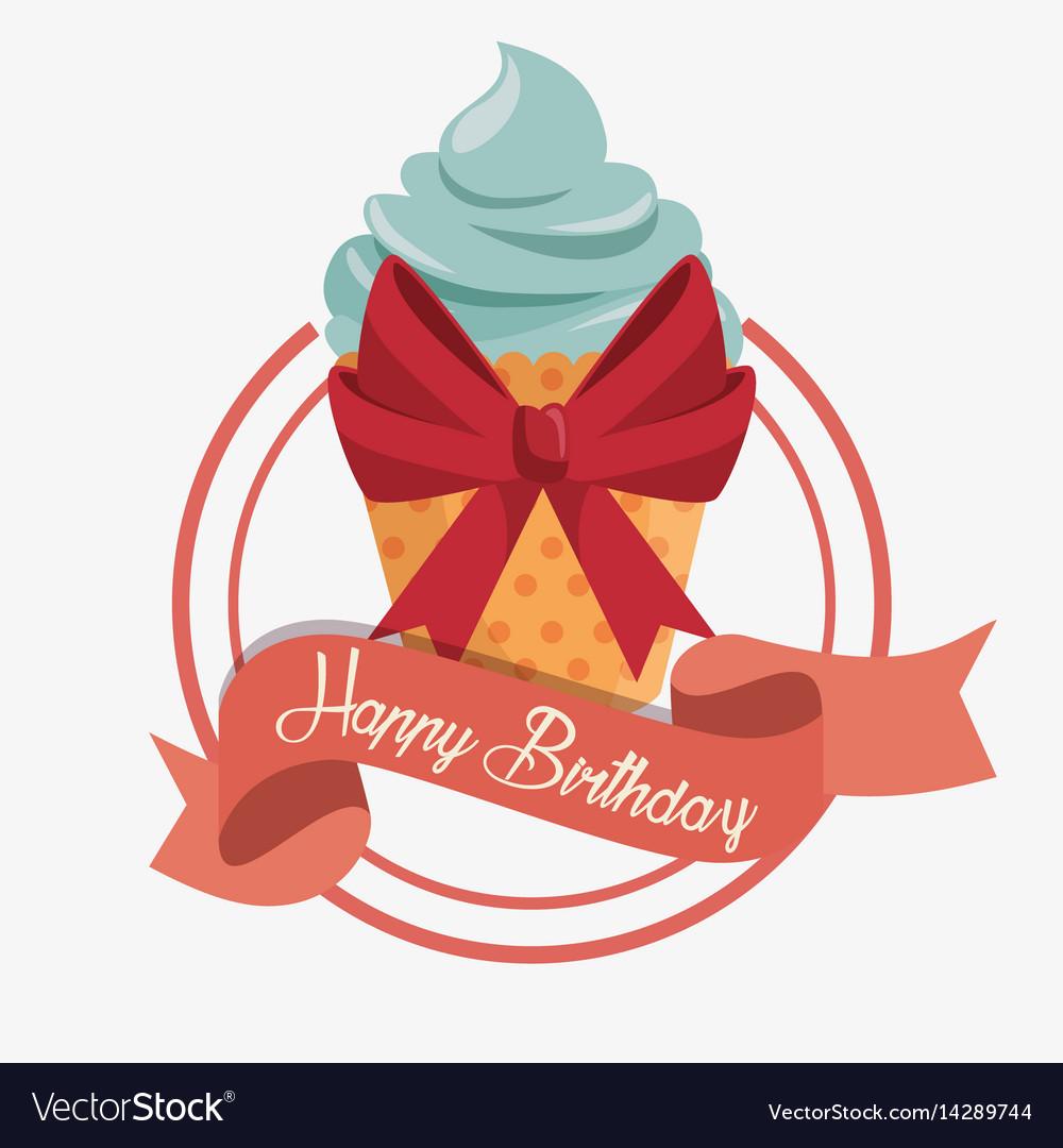 Happy birthday cupcake card vector image