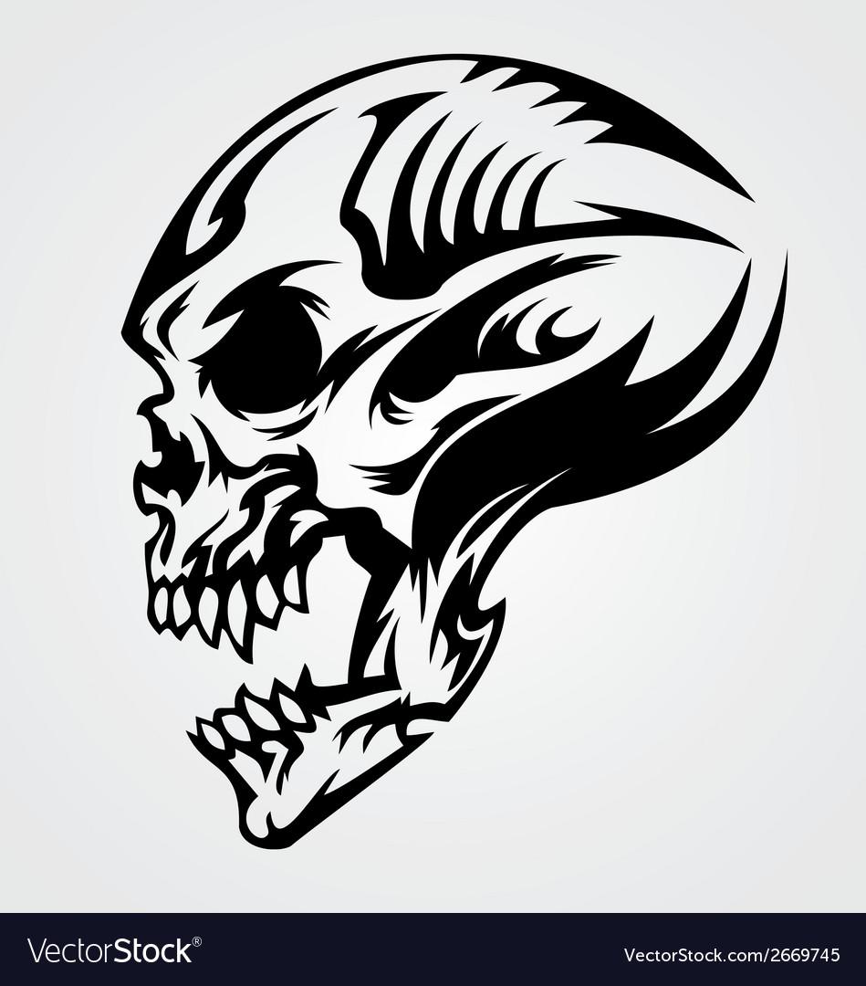 skull tattoo design royalty free vector image vectorstock. Black Bedroom Furniture Sets. Home Design Ideas