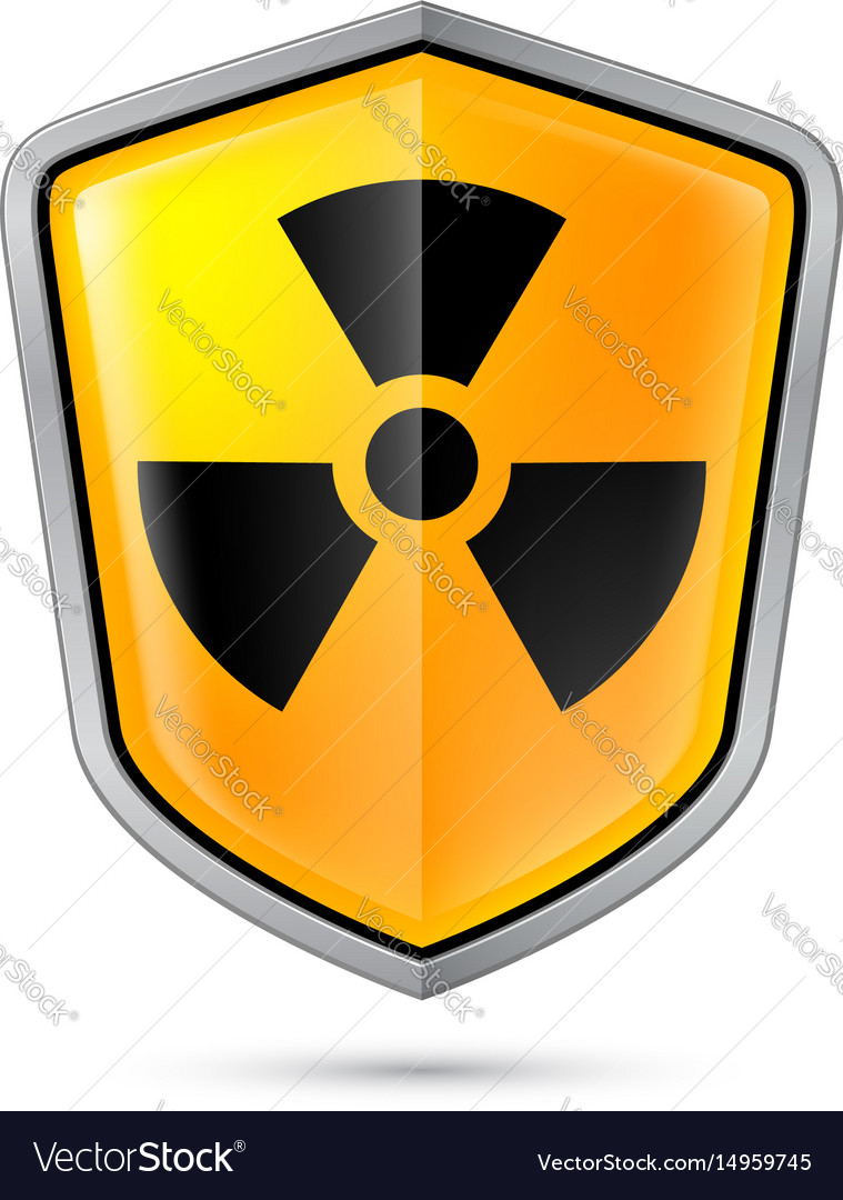 Warning sign on shield indicating of radiation vector image