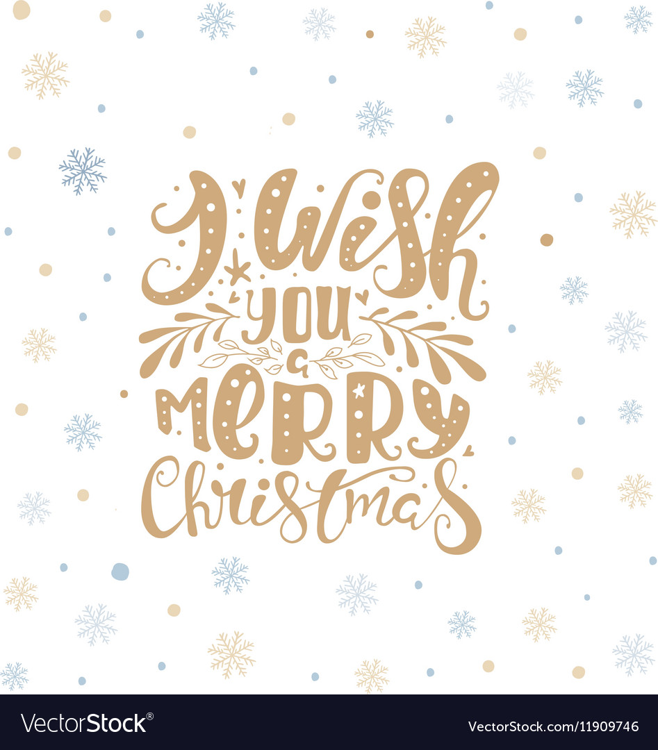Merry christmas lettering over with snowflakes vector image