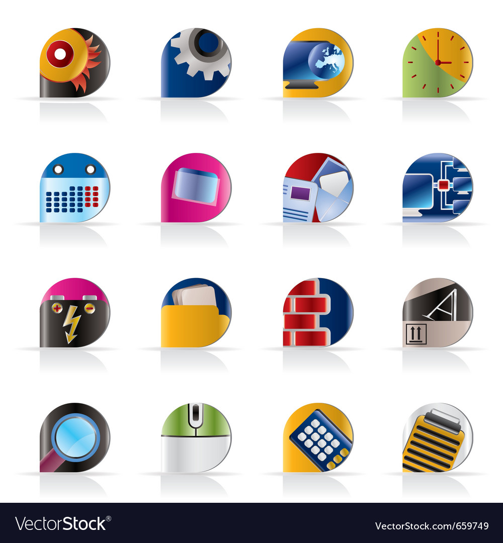 Computer and mobile phone icons vector image