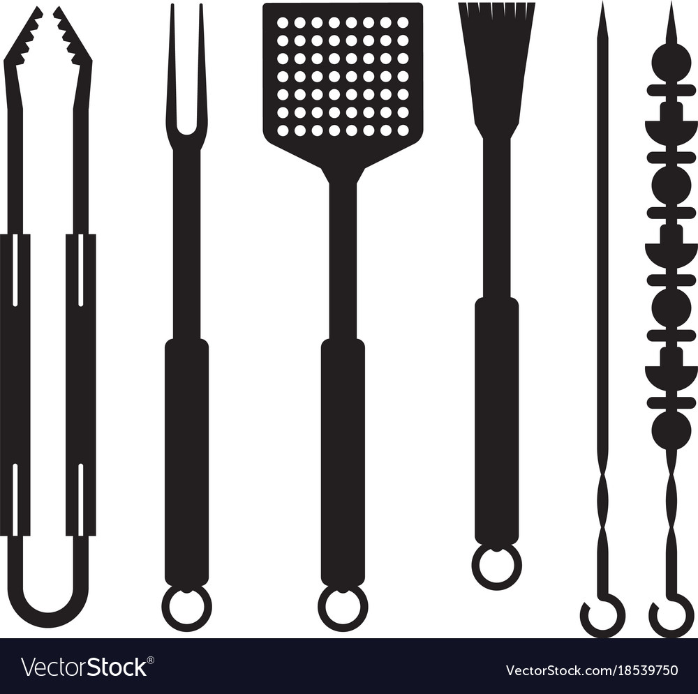 Barbecue utensils outline icons vector image