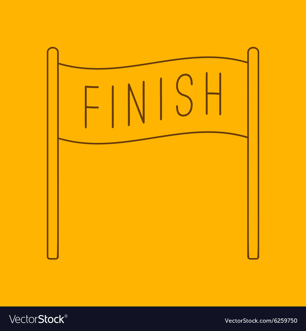 Finish banner line icon vector image