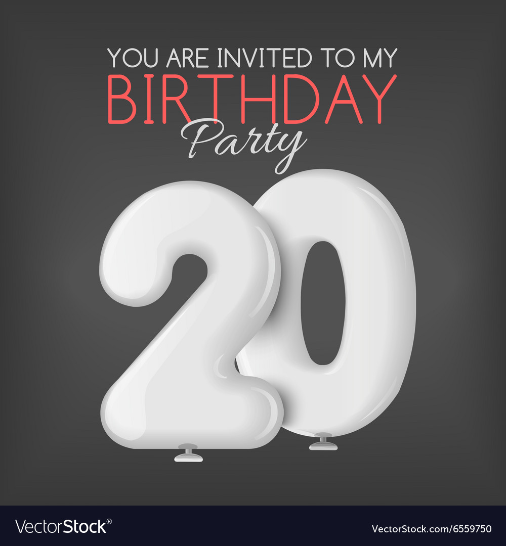 Invitation card for the celebration of 20 years vector image