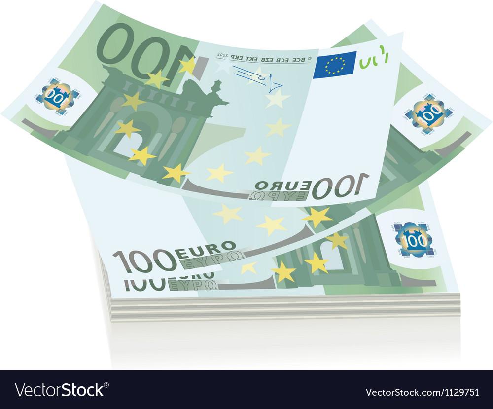 Flying euro bills vector image