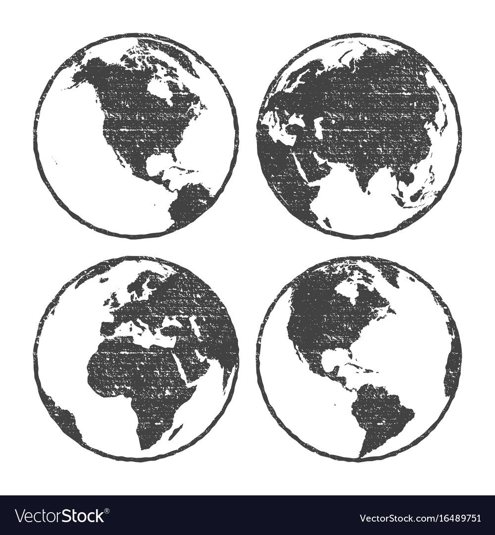 Grunge texture gray world map globe set royalty free vector grunge texture gray world map globe set vector image gumiabroncs Image collections