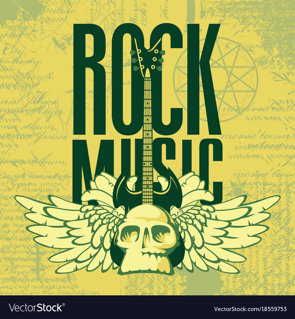 Music banner with electric guitar wings and skull vector image