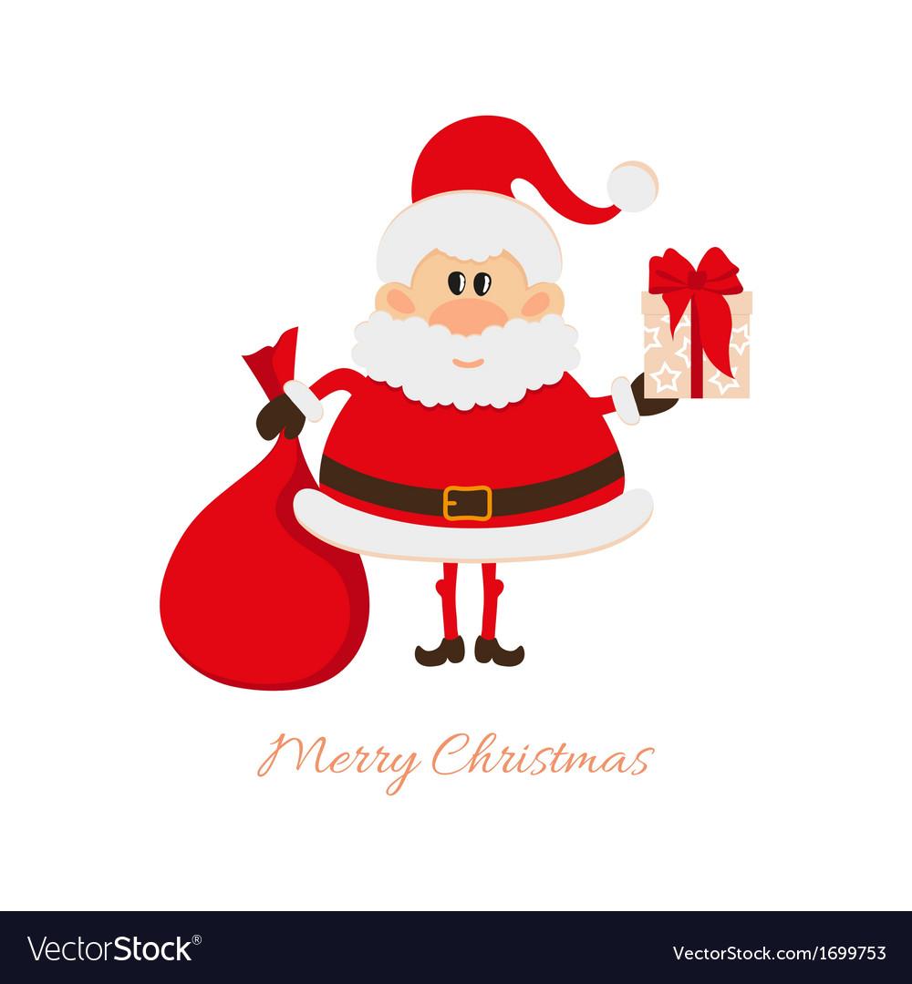 santa claus with a bag of gifts and gift box vector image - Santa Claus Gifts